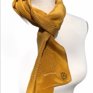 Ellen Tracy | Gold Polka Dot Silk Scarf